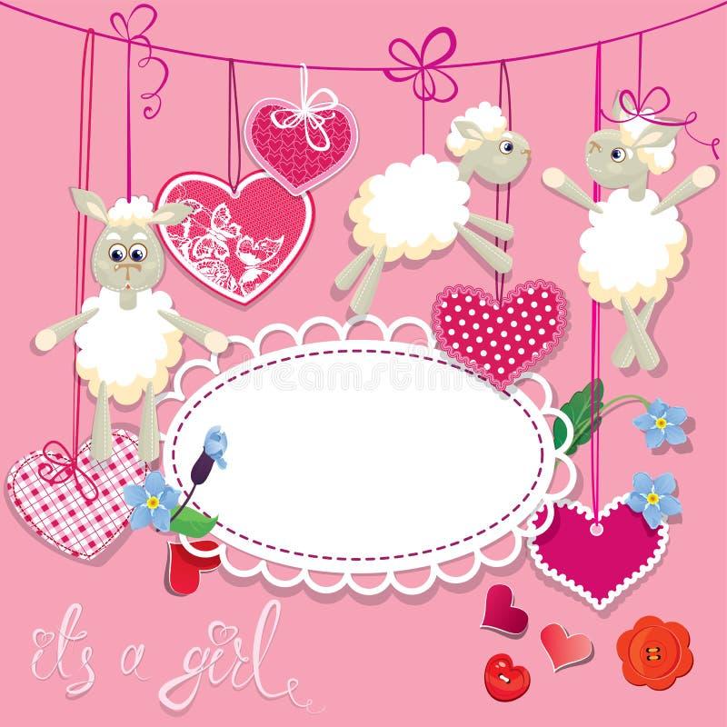 Carte rose de fête de naissance avec des moutons et des coeurs illustration stock