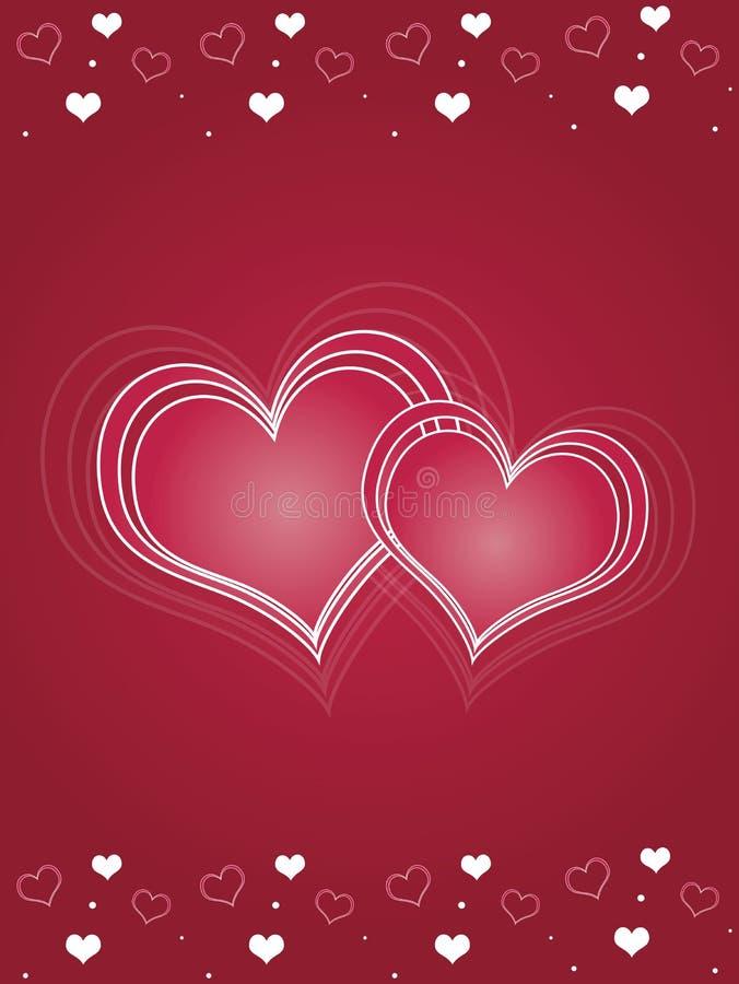 Carte rose de jour de Valentines de coeurs illustration libre de droits