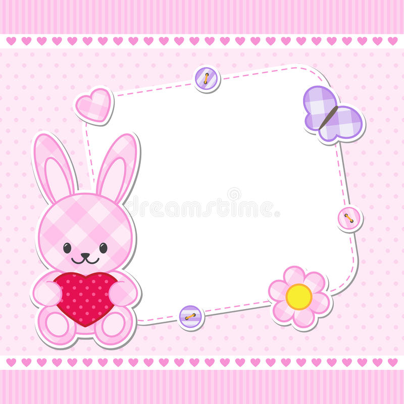 Carte rose de lapin illustration stock