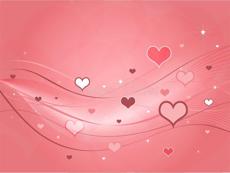 Carte rose de Valentines de coeurs illustration stock