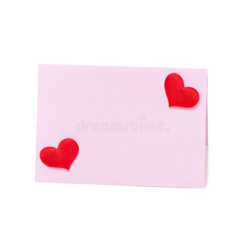 Carte rose pour la félicitation avec la Saint-Valentin de coeurs photo stock