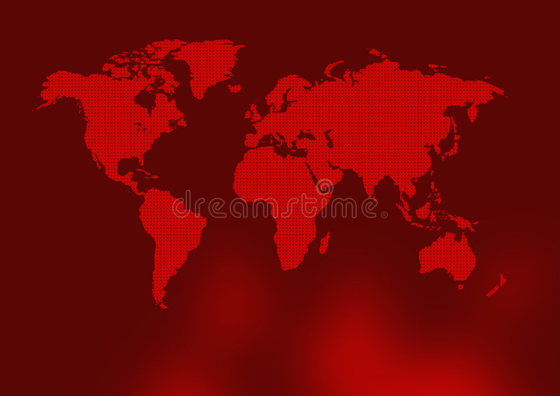 Carte rouge antique du monde illustration libre de droits