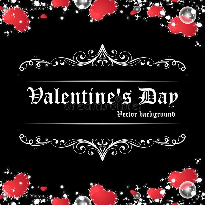 Carte rouge brillante de jour du ` s de Valentine de coeur à l'arrière-plan noir illustration de vecteur
