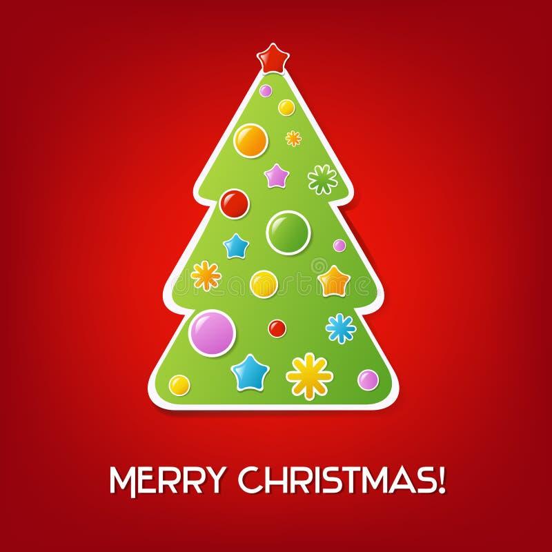 Carte rouge de cru de Noël illustration de vecteur