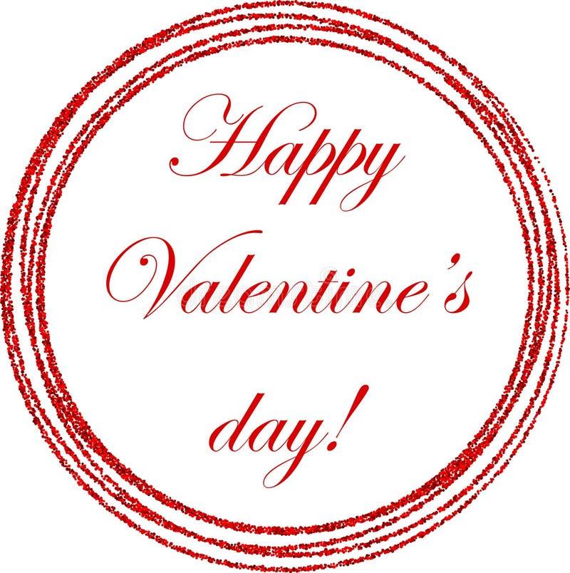 Carte rouge de Valentine de jour heureux rond du ` s illustration de vecteur