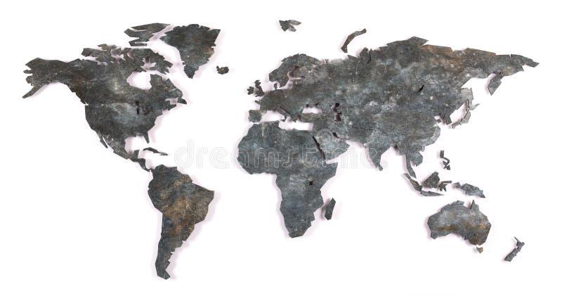Carte rudement décrite du monde - métal image libre de droits