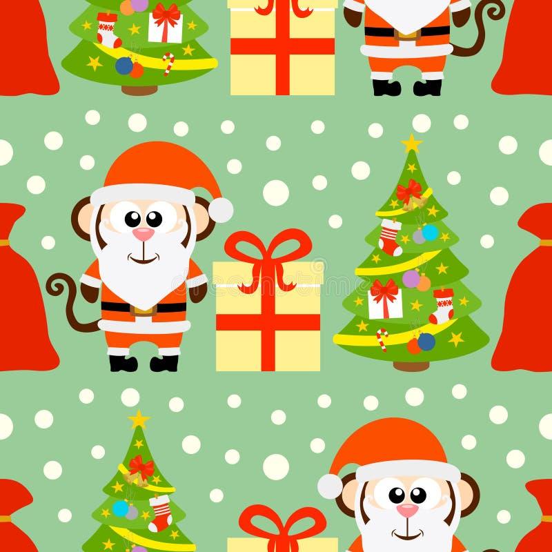 Carte sans couture de nouvelle année avec le singe Santa Claus illustration de vecteur