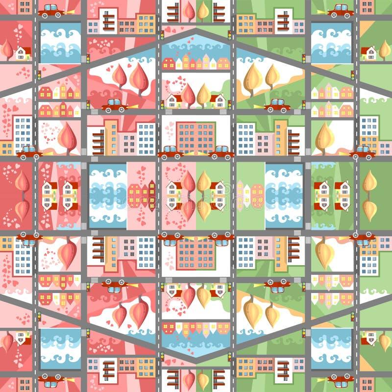 Carte sans couture de ville de bande dessinée mignonne Paysage urbain de ressort et d'été illustration de vecteur