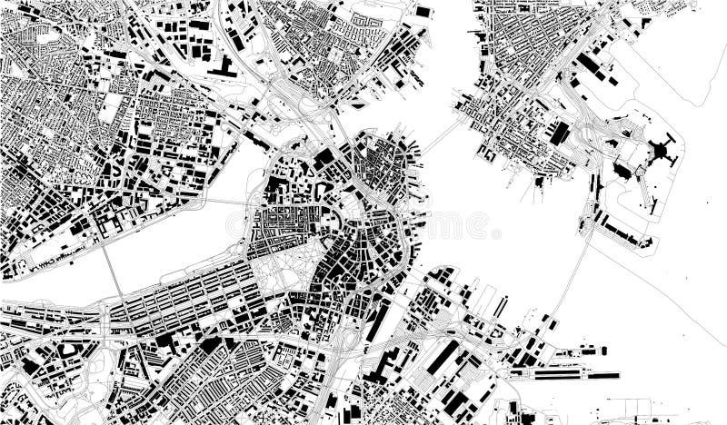 Carte satellite de Boston, le Massachusetts, rues de ville LES Etats-Unis illustration libre de droits