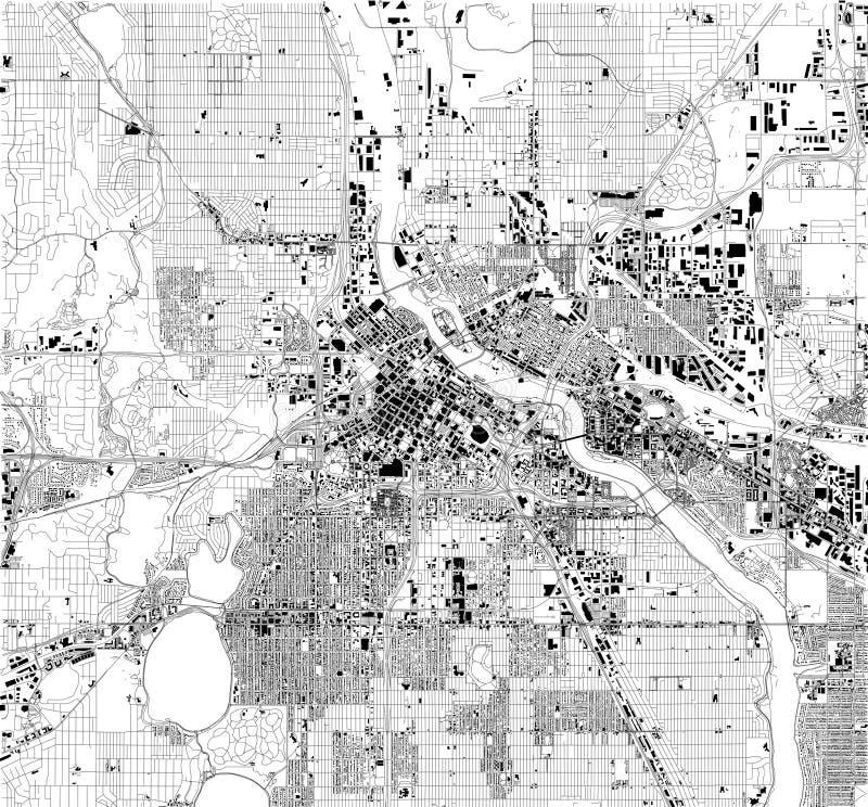 Carte satellite de Minneapolis, Minnesota, Etats-Unis, rues de ville illustration stock
