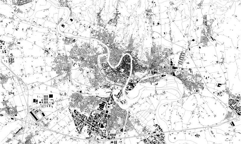 Carte satellite de Vérone, Vénétie, Italie, rues de ville illustration de vecteur