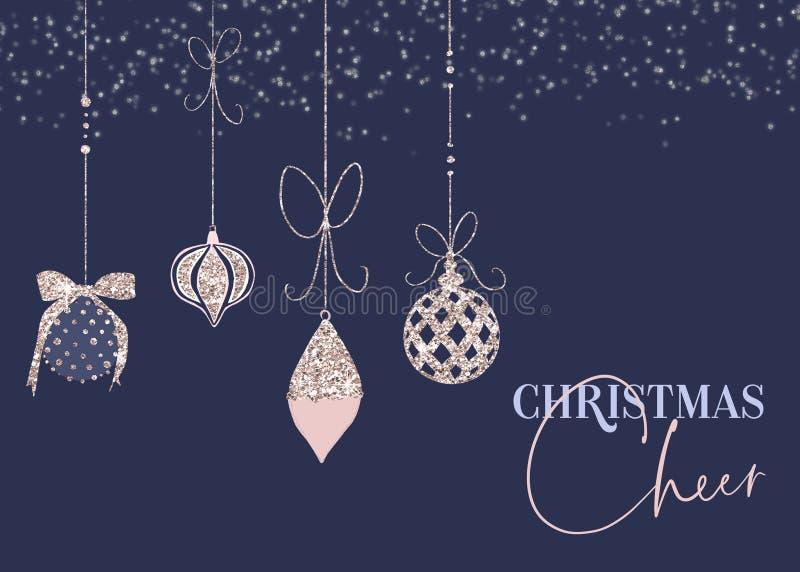 Carte scintillante bleue d'acclamation de Noël de babiole illustration libre de droits