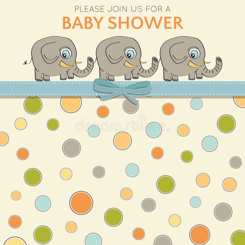 Carte sensible de fête de naissance avec de petits éléphants illustration stock