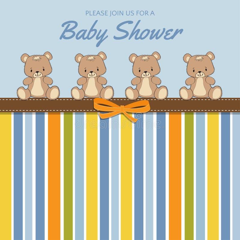 Carte sensible de fête de naissance avec des ours de nounours illustration libre de droits