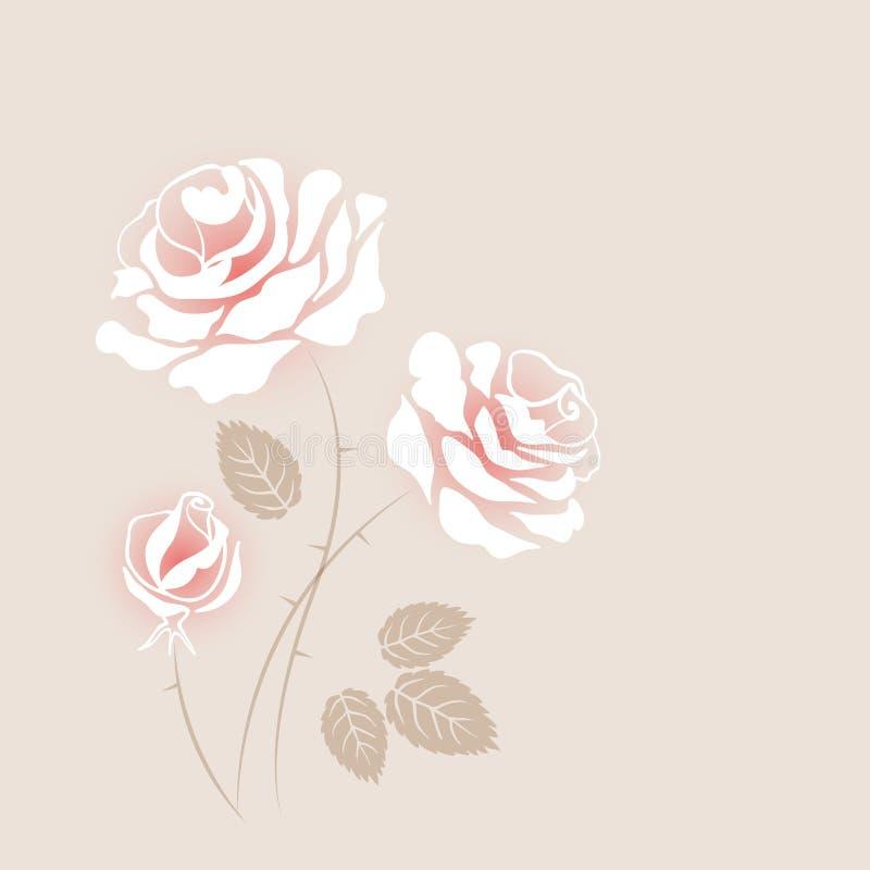 Carte sensible de vintage avec quelques roses blanches illustration de vecteur