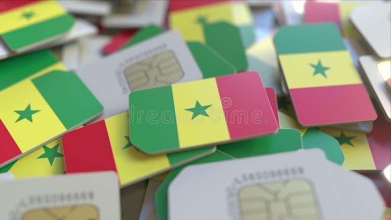 Carte SIM con la bandiera del Senegal Rappresentazione concettuale collegata alla rete cellulare senegalese 3D illustrazione di stock