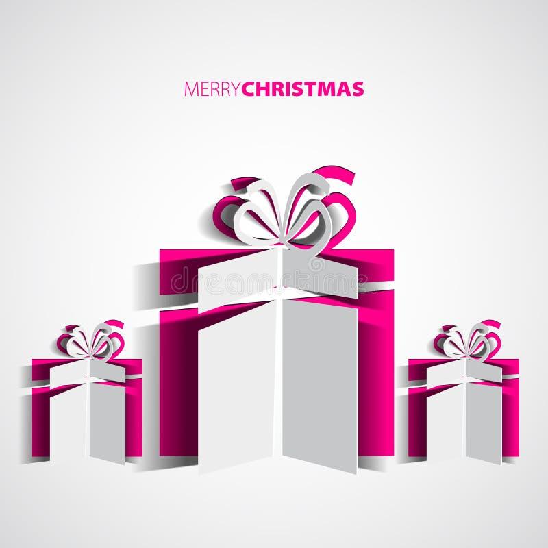 Carte simple de boîte-cadeau de Noël de Papercut pour Noël, illustration libre de droits