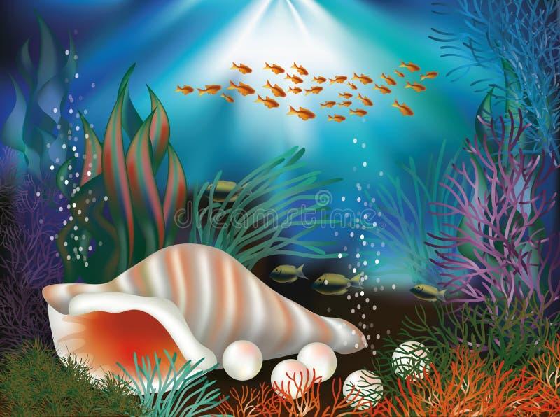 Carte sous-marine du monde avec le coquillage et les perles illustration libre de droits