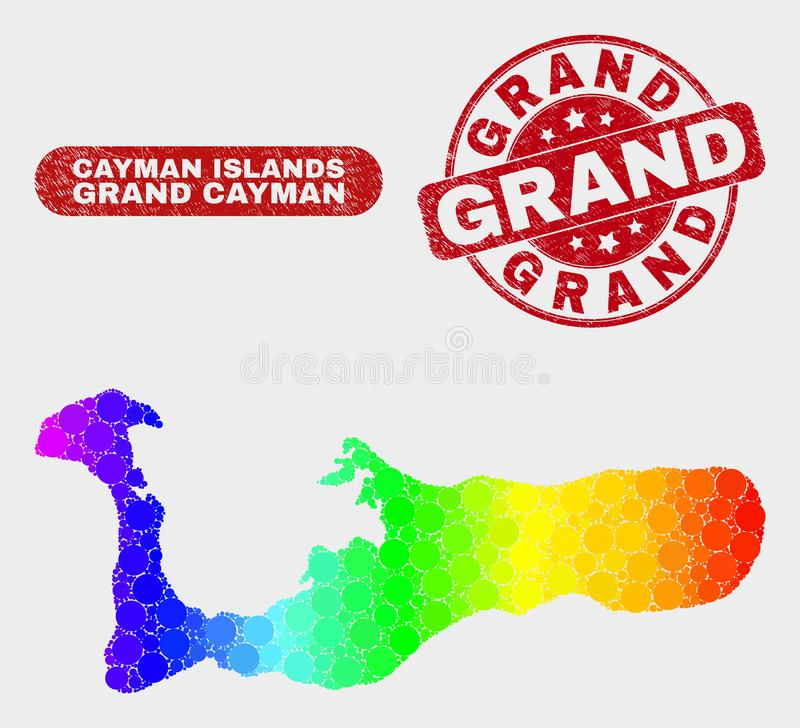 Carte spectrale d'île de Grand Cayman de mosaïque et timbre grand grunge illustration de vecteur
