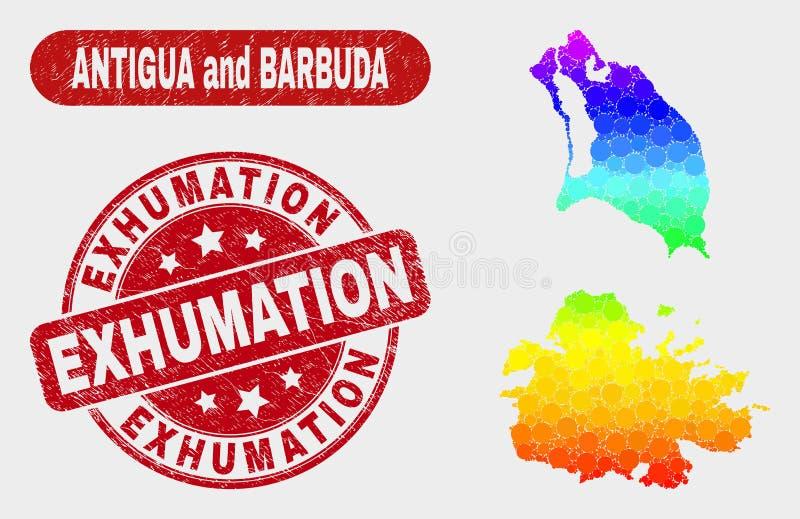 Carte spectrale de l'Antigua-et-Barbuda de mosaïque et joint rayé de timbre d'exhumation illustration de vecteur