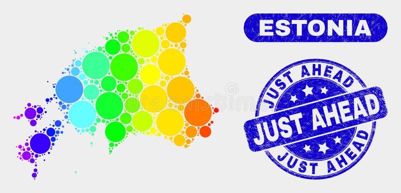 Carte spectrale de l'Estonie de mosaïque et affliger juste en avant le joint de timbre illustration libre de droits