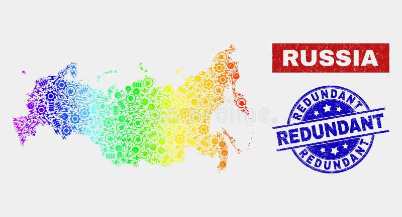 Carte spectrale de la Russie de productivité et affliger les joints superflus de timbre illustration de vecteur