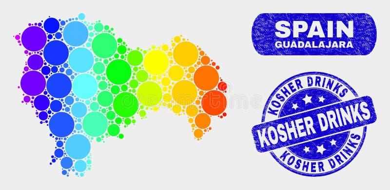 Carte spectrale de province de Guadalajara de mosaïque et joint cacher grunge de boissons illustration de vecteur