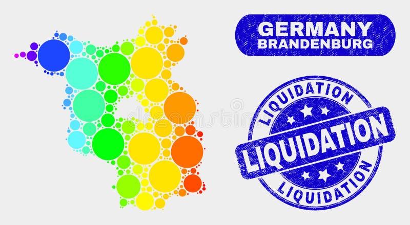 Carte spectrale de terre de Brandebourg de mosaïque et joint rayé de timbre de liquidation illustration libre de droits