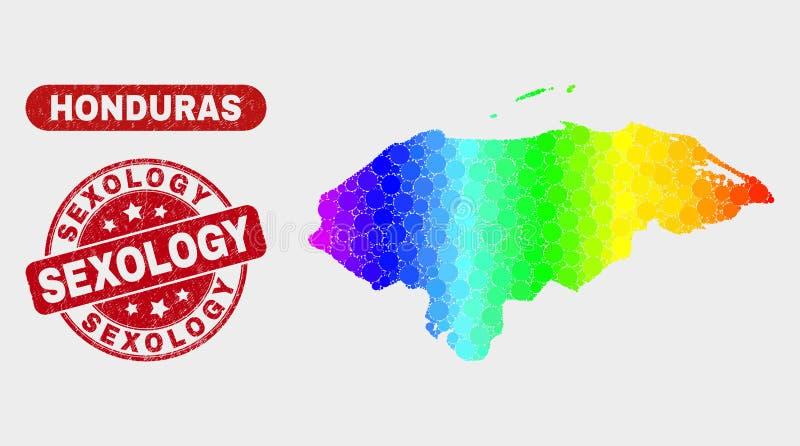 Carte spectrale du Honduras de mosaïque et joint grunge de timbre de sexologie illustration de vecteur