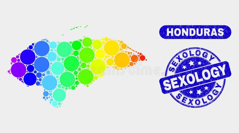 Carte spectrale du Honduras de mosaïque et timbre rayé de sexologie illustration stock