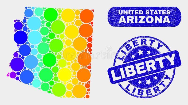 Carte spectrale et détresse Liberty Watermark d'état de l'Arizona de mosaïque illustration stock