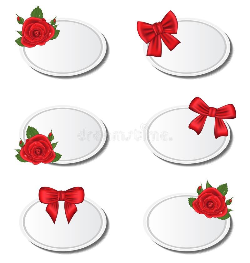 Carte stabilite dell'etichetta con le rose e gli archi del regalo royalty illustrazione gratis