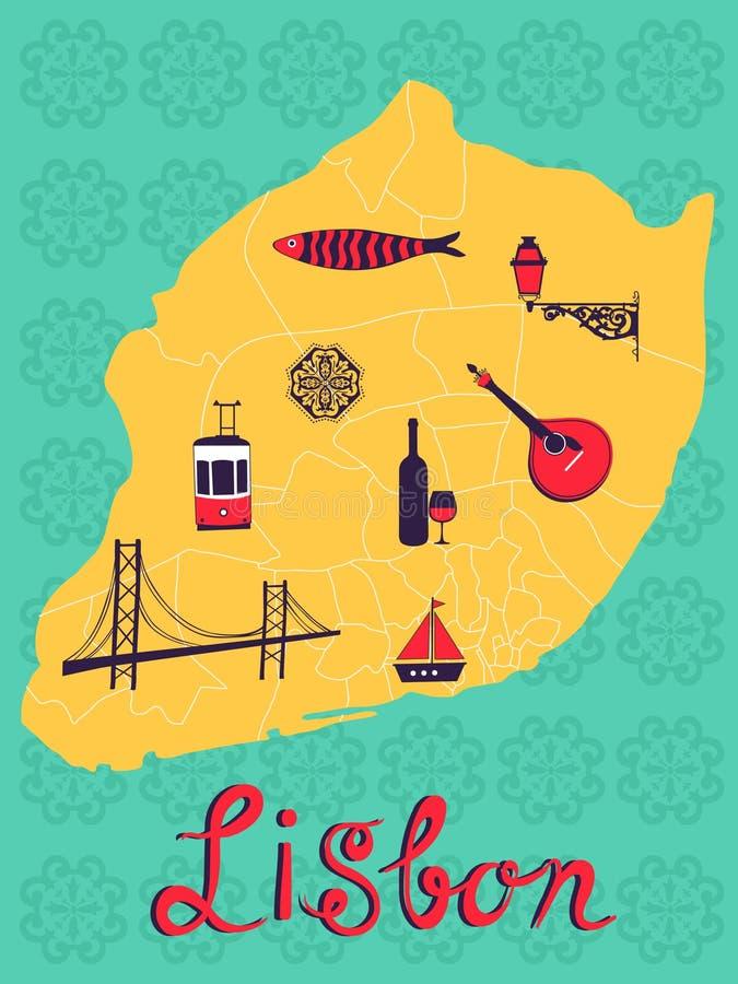 Carte stylisée colorée de Lisbonne avec les icônes tipical illustration libre de droits