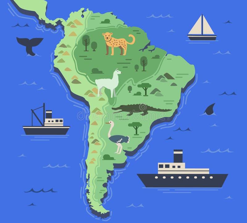 Carte stylisée de l'Amérique du Sud avec les animaux indigènes et les symboles de nature Carte géographique simple Vecteur plat illustration stock