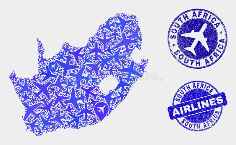 Carte sud-africaine de République de vecteur aérien de collage et joints grunges illustration libre de droits