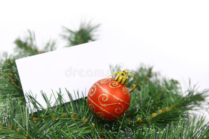 Carte sur l'arbre de Noël photographie stock libre de droits