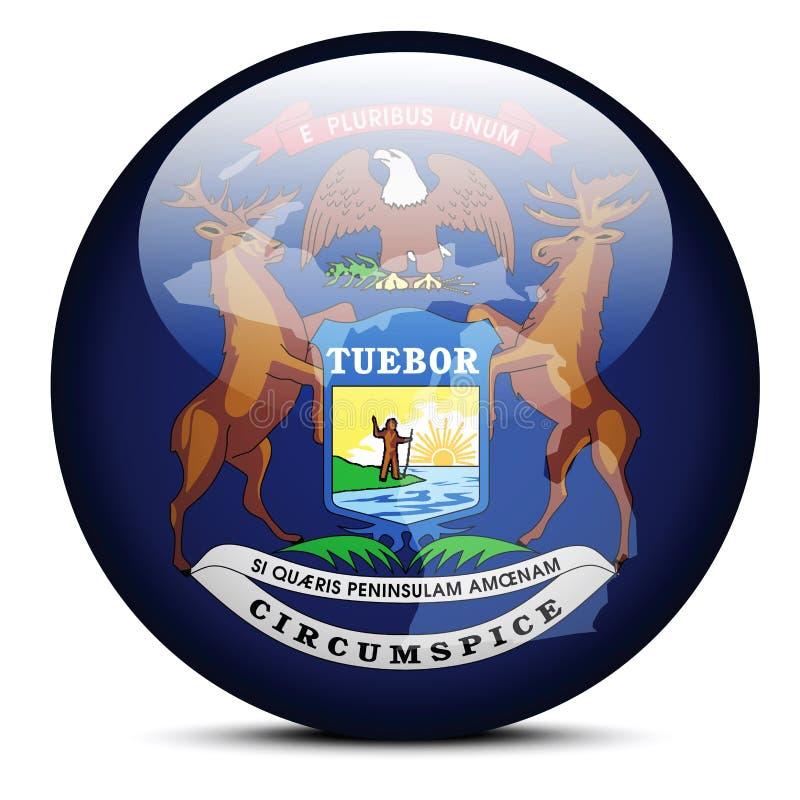 Carte sur le bouton de drapeau de l'État du Michigan des Etats-Unis illustration de vecteur