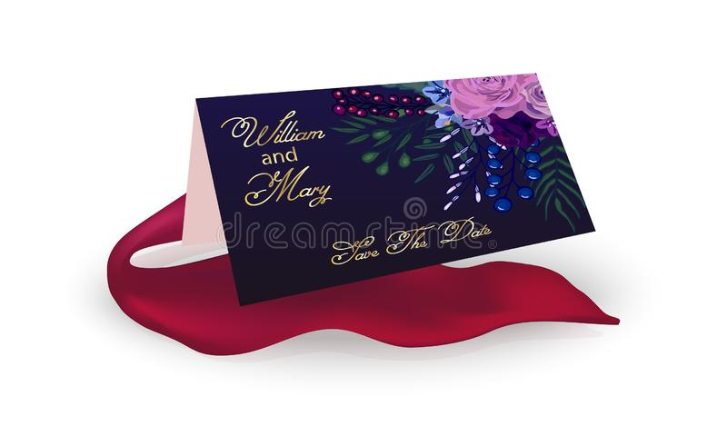 Carte sur un fond blanc, ruban rouge Vue avec les roses, fleurs pour l'anniversaire, mariage, le jour de valentine Illustration d illustration stock