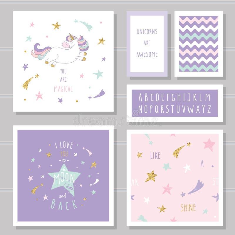 Carte sveglie con le stelle di scintillio dell'oro e dell'unicorno Per l'invito di compleanno, doccia di bambino, giorno del ` s  royalty illustrazione gratis