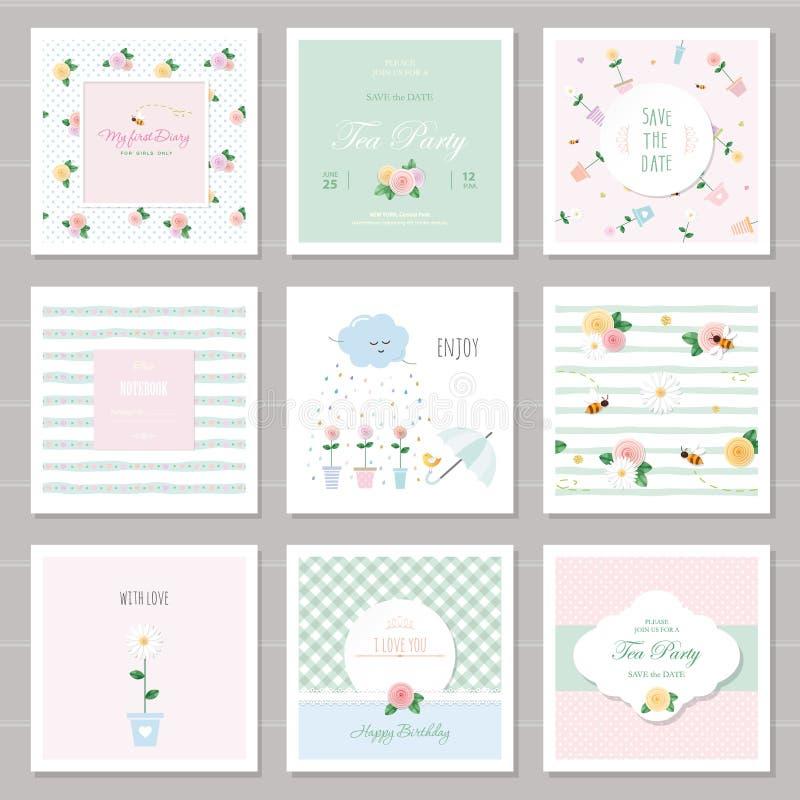 Carte sveglie per le ragazze con gli elementi decorativi floreali Per il compleanno, nozze, biglietti di S. Valentino, copertura  royalty illustrazione gratis