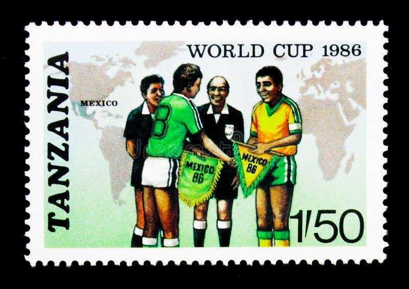 Carte, Team Captains et fonctionnaires, coupe du monde de la FIFA 1986 - serie du Mexique, vers 1986 image stock