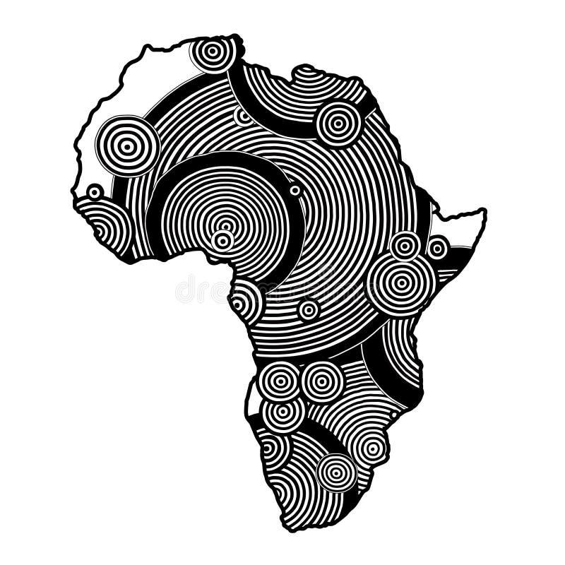 Carte texturisée de vecteur de l'Afrique Modèle tiré par la main d'ethno, fond tribal Illustration de vecteur Fond coloré par abs photos libres de droits