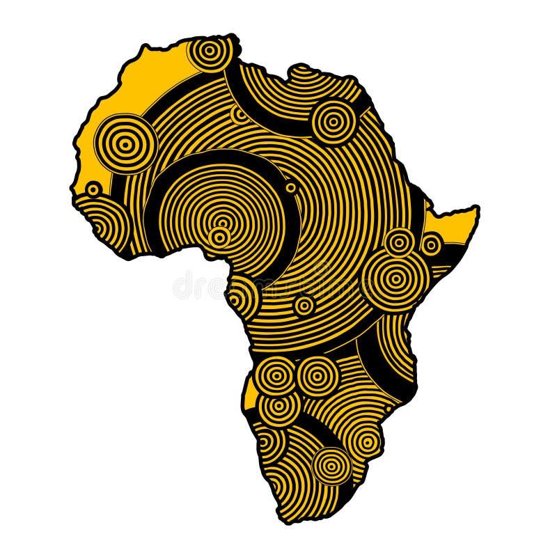 Carte texturisée de vecteur de l'Afrique Modèle tiré par la main d'ethno, fond tribal Illustration de vecteur Fond coloré par abs image libre de droits