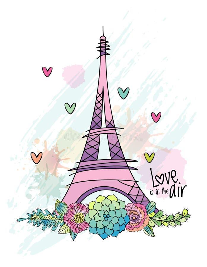 Carte tirée par la main d'amour de fleur, Tour Eiffel, vecteur illustration stock