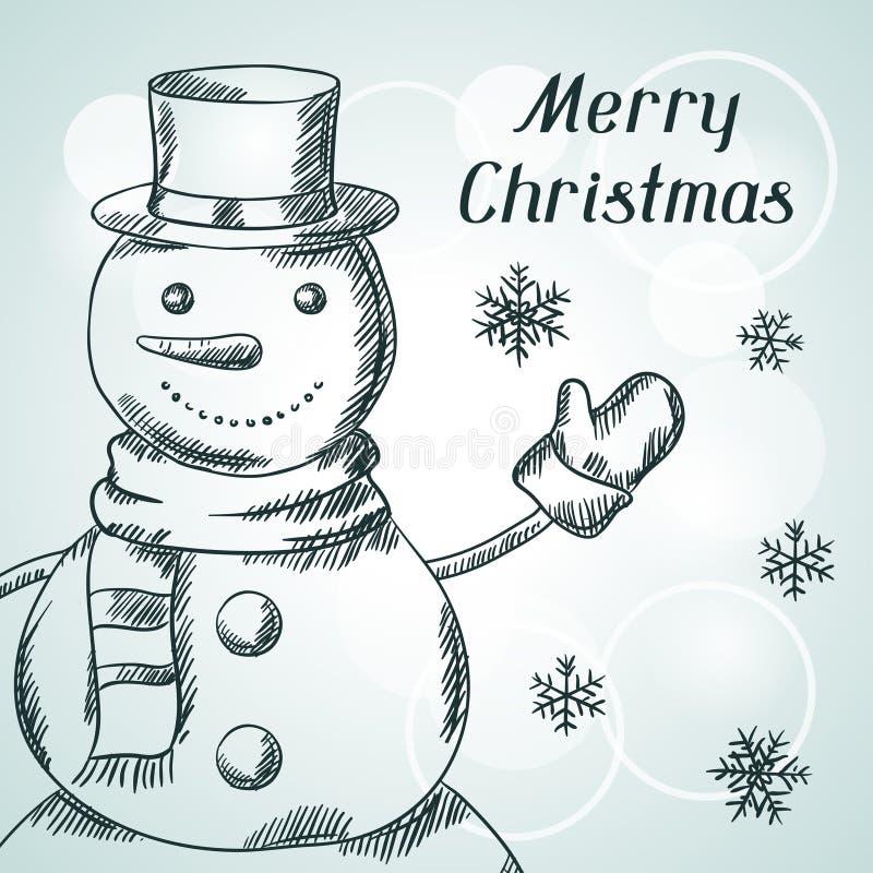 Carte tirée par la main d'invitation de Joyeux Noël illustration de vecteur