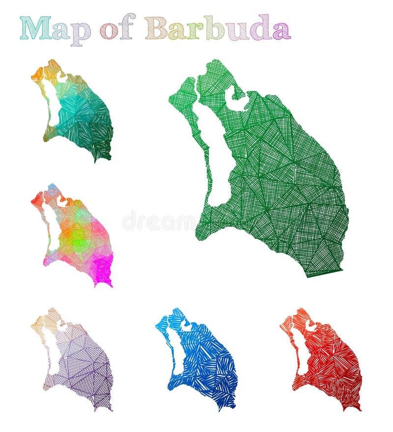 Carte tirée par la main de Barbuda illustration de vecteur