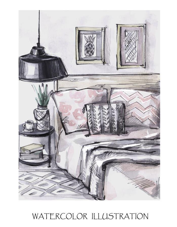 Carte tirée par la main de conception intérieure Illustration moderne d'aquarelle Style scandinave romantique illustration de vecteur