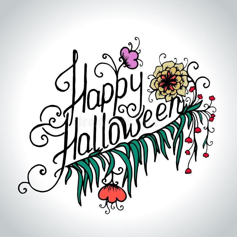 Carte tirée par la main de Halloween avec le crâne en fleurs illustration stock