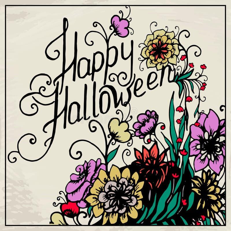 Carte tirée par la main de Halloween avec le crâne en fleurs illustration libre de droits