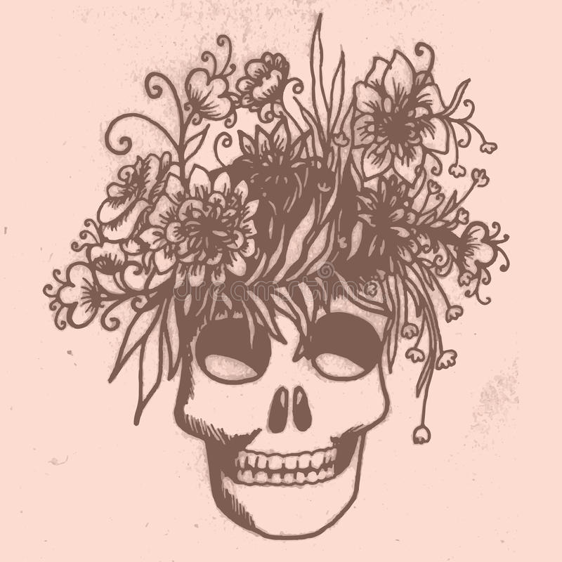 Carte tirée par la main de Halloween avec le crâne en fleurs illustration de vecteur